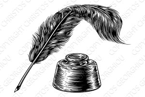 Feather Quill Pen and Inkwell