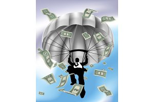 Parachuting Cash Silhouette Business