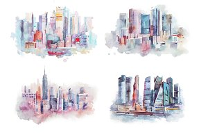 watercolor drawing cityscape big