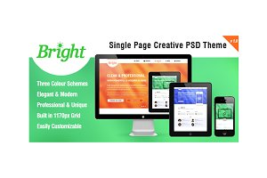Bright - Single Page PSD Template