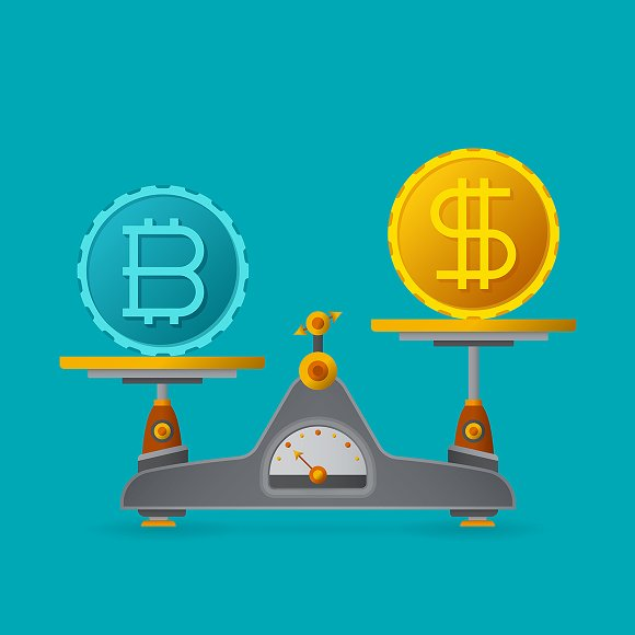 Bitcoin vs dollar concept