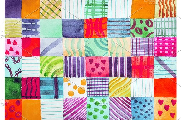 Patchwork quilt. Set of colorful in Illustrations