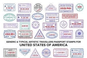 Passport visa stamps for USA