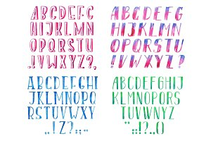 Colorful watercolor aquarelle font