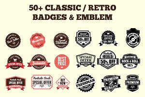 50+ Clasic Retro Badges and Logo