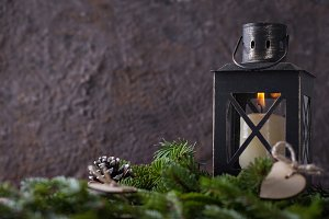 Christmas composition with candle