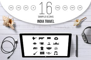 India travel icons set, simple style