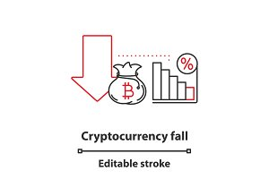 Cryptocurrency fall concept icon