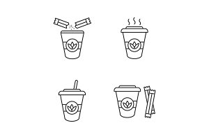 Tea drinks linear icons set