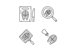Fish preparation linear icons set