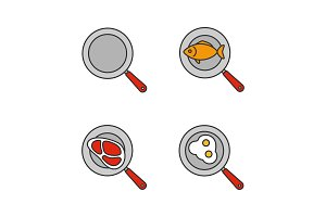 Frying pans color icons set
