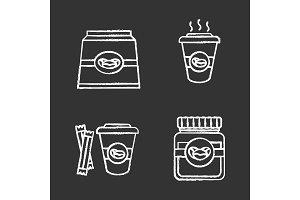 Coffee chalk icons set