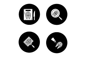 Fish preparation glyph icons set