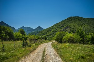 Summer Caucasus mountain landscape