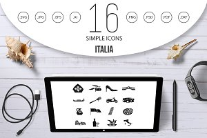 Italia icons set, simple style