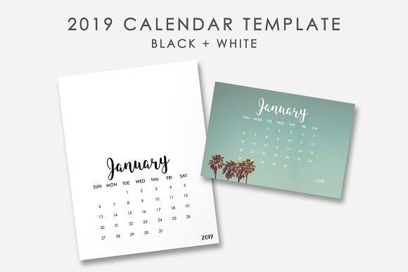 2019 Calendar Template Templates Creative Market