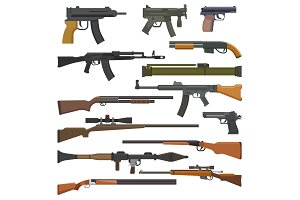 Gun vector military weapon or army