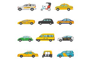 Taxi vector taxicab transport and