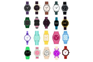 Watch vector wristwatch for