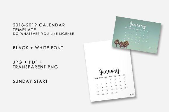 2018 2019 calendar template templates creative market