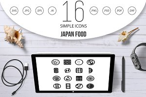 Japan food icons set, simple style
