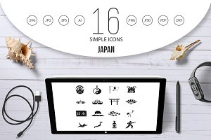 Japan icons set, simple style