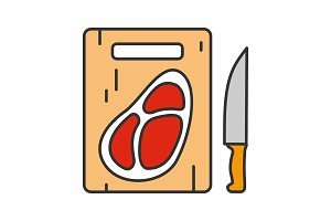 Steak on cutting board color icon