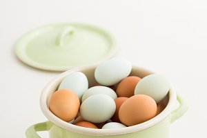 Eggs in a pot