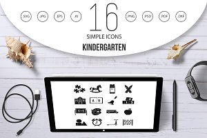 Kindergarten symbol icons set
