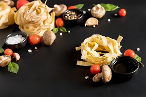 Fettuccine tagliatelle paste with