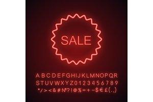 Sale sticker neon light icon