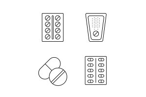 Pills linear icons set