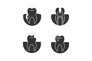 Dentistry glyph icons set