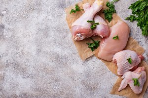 Raw chicken meat fillet, thigh