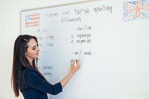 Teacher explaining differences