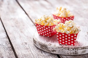 Popcorn in red polka dot pack