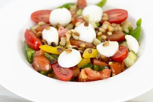 Homemade summer healthy salad with t