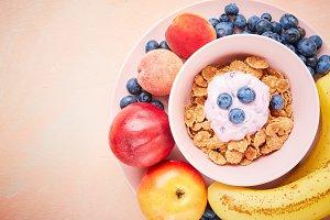 berry yoghurt with frefh blueberries