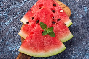 Sliced fresh watermelon and mint