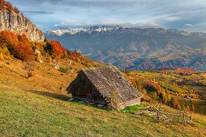 Autumn alpine rural landscape