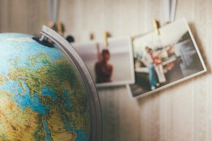Vintage World Globe with Photos