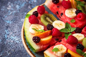 Watermelon pizza with fruit and
