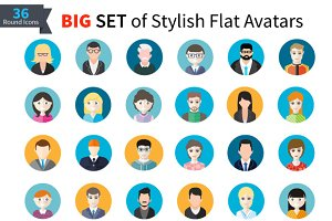 Set of Stylish Avatars Man and Woman