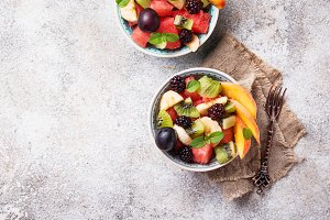 Fruits salad with watermelon, banana