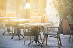 Outdoor street cafe tables