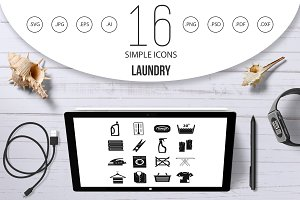 Laundry icons set, simple style