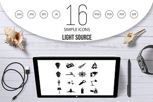 Light source symbols icons set