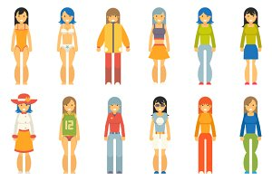 Fashion Girls Female Characters Icon