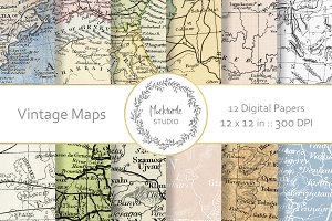 Vintage Maps digital paper