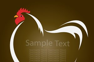 Vector of a hen on brown background.